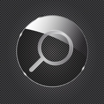 Glass search button icon on metal background. vector illustration..