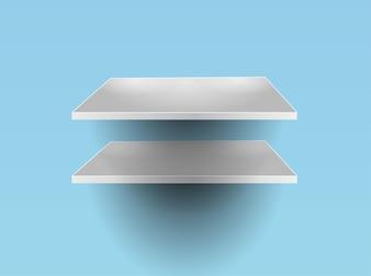 Glass shelves interior design illustration