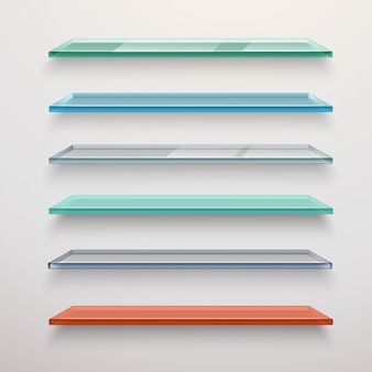 Glass shelves set