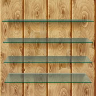 薄茶色の垂直木の板に影が付いたガラス棚