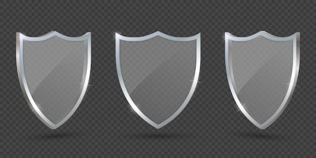 Стеклянный щит на прозрачном фоне, защита.