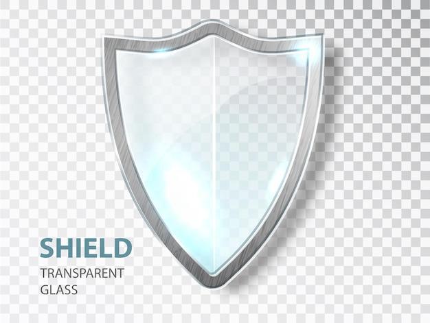 유리 방패 기호입니다. 보안 유리 라벨. 개인 정보 보호 투명 배너 방패. 국방 보호 기호.