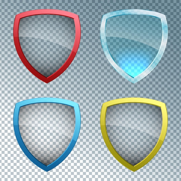 Glass shield on transparent background