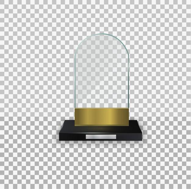 유리 반짝이 트로피. 수상 그림에 대한 광택 투명 상. 크리스탈 유리 빈 트로피