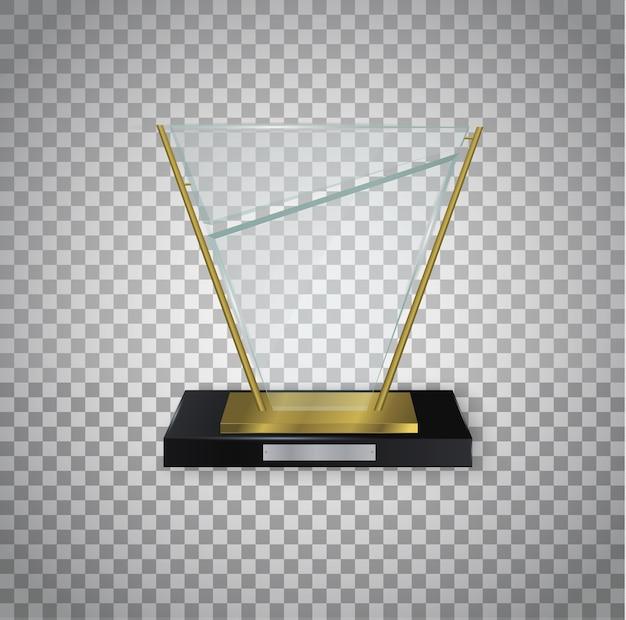 ガラスの光沢のあるトロフィー。賞のイラストのための光沢のある透明な賞。