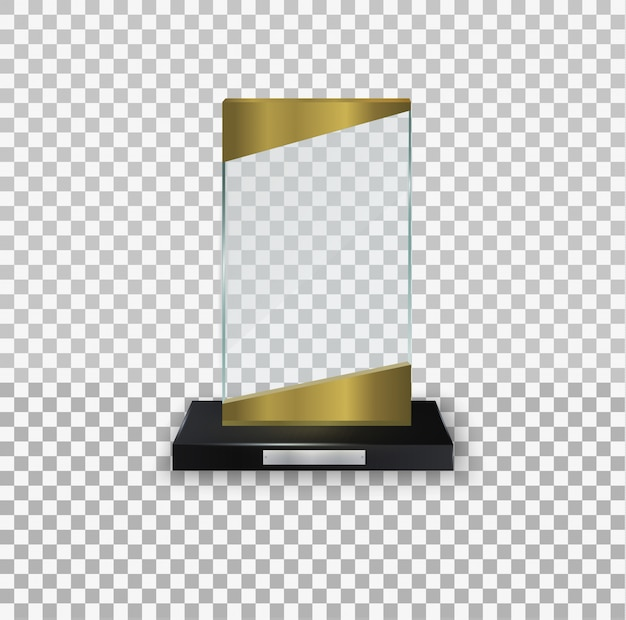 Glass shiny trophy on a white background. glossy transparent prize for award illustration. crystal glass empty trophy. collection of illustrations of modern prizes.