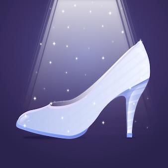 明るい光の中でガラスの靴