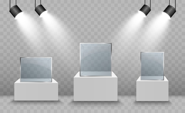 Glass showcase for the exhibition in the form of a cube. background for sale illuminated  spotlights