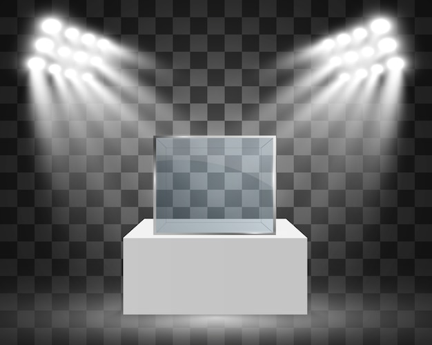 전시를위한 큐브 형태의 유리 쇼케이스. 스포트 라이트로 조명 판매 배경입니다. 박물관 유리 상자 광고 또는 비즈니스 부티크. 전시장.
