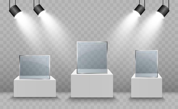 Стеклянная витрина для выставки в виде куба. фон для продажи прожекторы с подсветкой