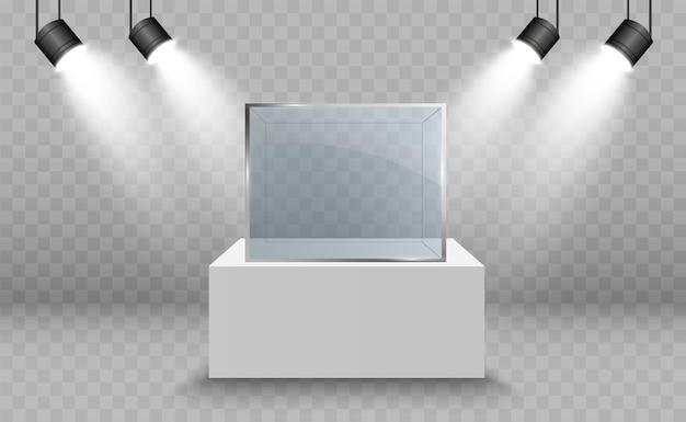 큐브 형태의 전시용 유리 쇼케이스 조명 판매 배경