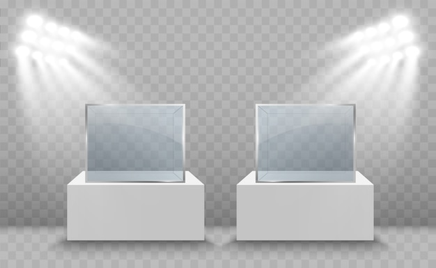 Стеклянная витрина для выставки в виде куба, освещенная точечными светильниками. стеклянный ящик музея изолировал рекламу.
