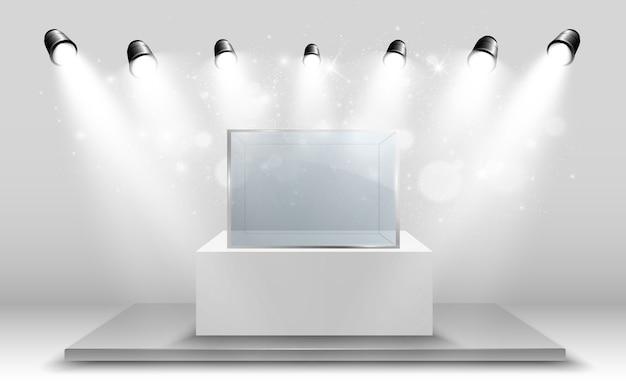 Стеклянная витрина для выставки в виде куба.