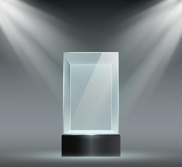 유리 쇼케이스. 투명한 플라스틱 큐브, 빈 제품 또는 박물관은 스포트라이트가 있는 블록 모양으로 표시됩니다. 전시 벡터 세트를 위한 프리즘 스탠드입니다. 스포트라이트를 받는 일러스트레이션 프리즘, 전시 쇼케이스
