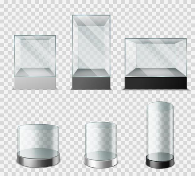 유리 쇼케이스. 광택 반사가 있는 투명 플라스틱 큐브, 프레젠테이션 제품 실험실, 박물관 및 전시 케이스를 위한 빈 구형 실린더 투명 배경에 설정된 3d 벡터