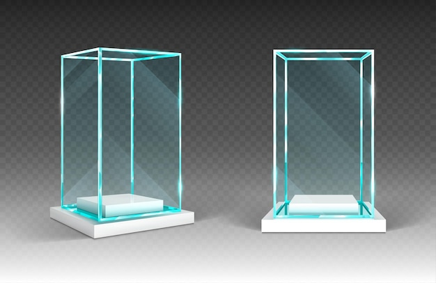Glass showcase with plastic base