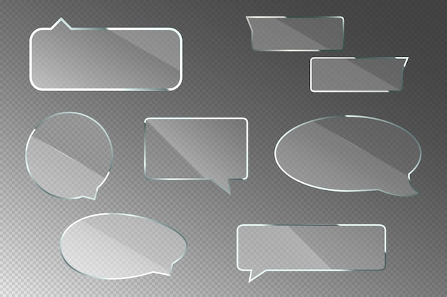 Glass speech bubbles for chat dialog