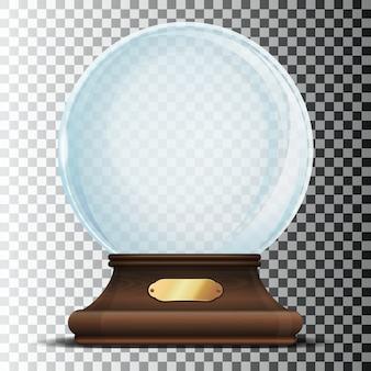 ゴールドサイン付きのエレガントな木製スタンドのガラス球。透明な背景に分離されたクリスマス空の雪の世界。 Premiumベクター