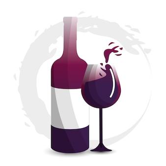 Glass splashing and bottle of wine icon