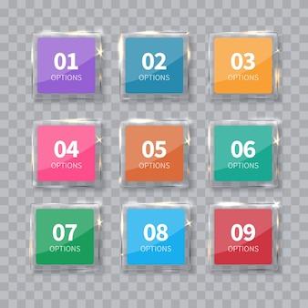 투명 한 배경에 고립 된 유리 사각형 숫자 집합입니다. 번호 옵션.