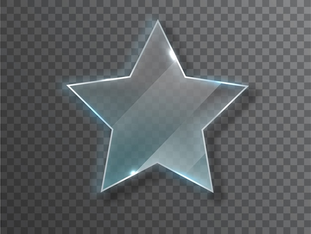 Glass star. realistic texture with highlights and glow on the transparent