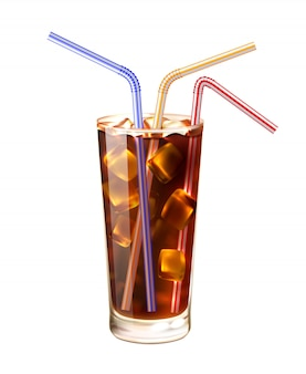 Glass and straws realistic illustration