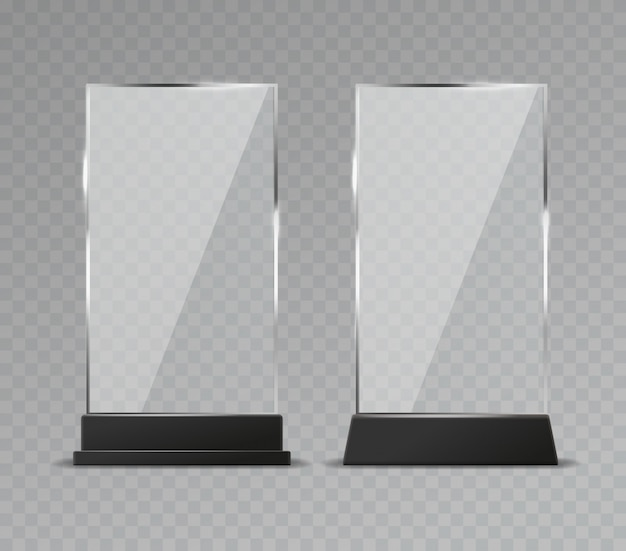 Glass table display. office transparent glass table signs modern plastic clear stand reflection shiny plates