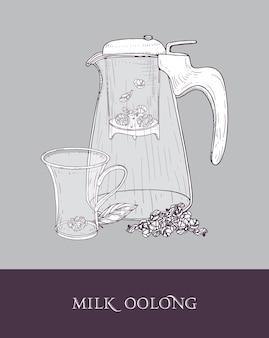 여과기가있는 유리 주전자 또는 투수, 우유 우롱 투명 컵 및 압연 찻잎 손으로 그린 프리미엄 벡터