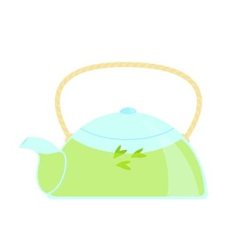 Стеклянный чайник с вектором зеленого чая, изолированные на белом фоне.