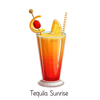 Glass of tequila sunrise cocktail with slice orange and cherry  on white. color illustration summer alcohol drink.