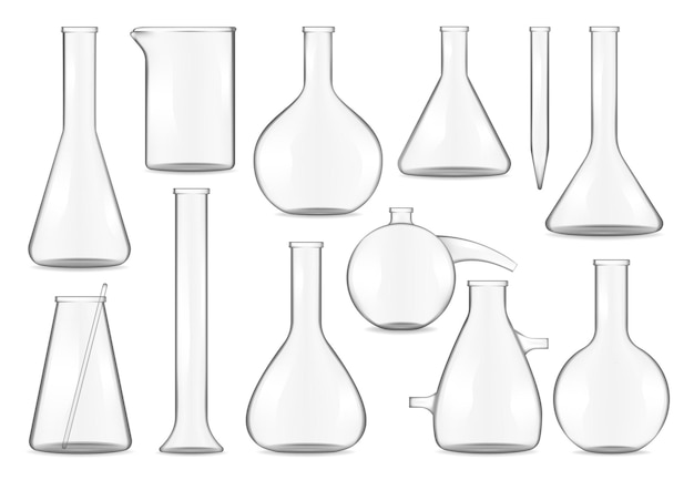 Glass test tubes, chemistry flasks and beakers