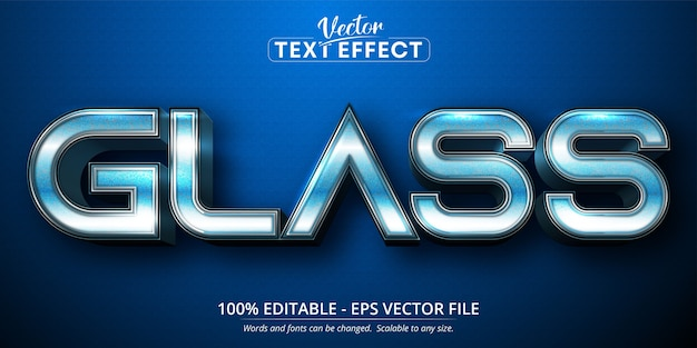 Glass text, blue gradient color style editable text effect