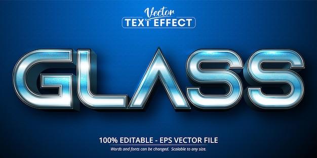 Glass text, blue gradient color style editable text effect