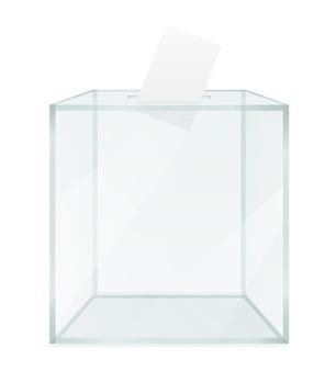 Стеклянная прозрачная урна для голосования на выборах, изолированные на белом фоне