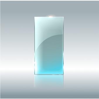 유리 투명 배너입니다. 투명 한 배경에 고립 된 비문에 대 한 장소를 가진 벡터 유리 접시.