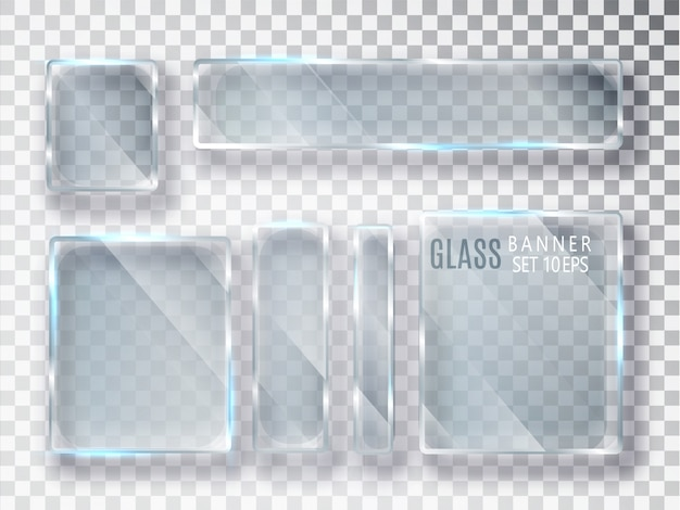Glass transparent banners set. flat glass.