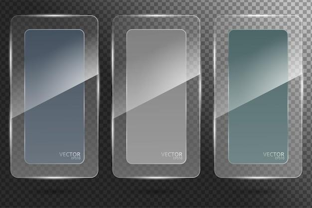 ガラス透明バナーセット。ベクトルイラスト