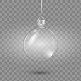 Glass transparent christmas ball empty.