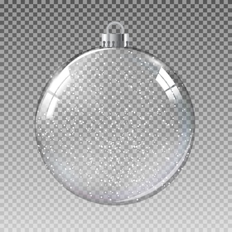 Glass transparent christmas ball with snow