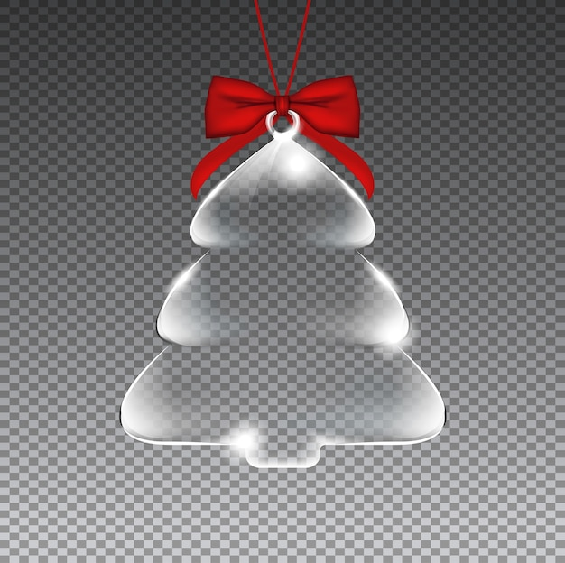Glass transparent christmas tree with red ribbon. premium .