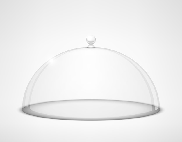 Coperchio semisfera in vetro trasparente con manico