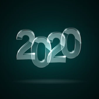 Glass transparent numbers 2020 new year.