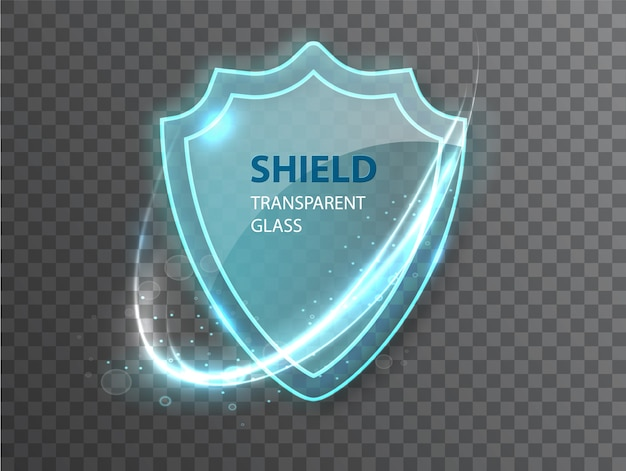 Glass transparent shield.