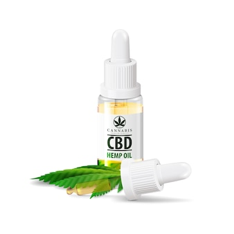 Glass transperent bottle of medical cbd oil and hemp leaf with pipette on white.
