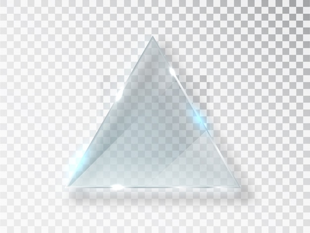 Glass triangle. realistic texture with highlights and glow on the transparent