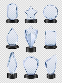 Glass trophies. sport winners cup prizes award transparent from glass  realistic collection