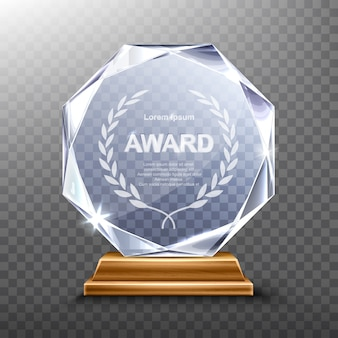 Glass trophy or acrylic winner award realistic