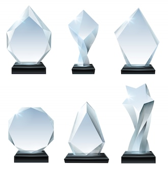 Glass trophy award. acrylic awards, crystal shape trophies and winner award glassy board transparent realistic  set