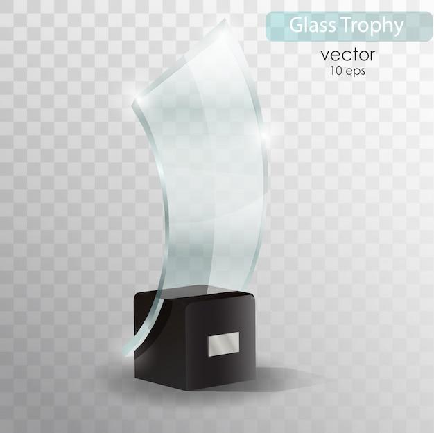 Glass trophy award. realistic 3d object