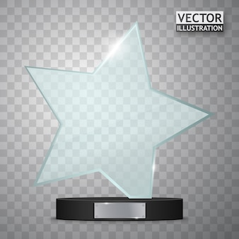Glass trophy award. star shape prize